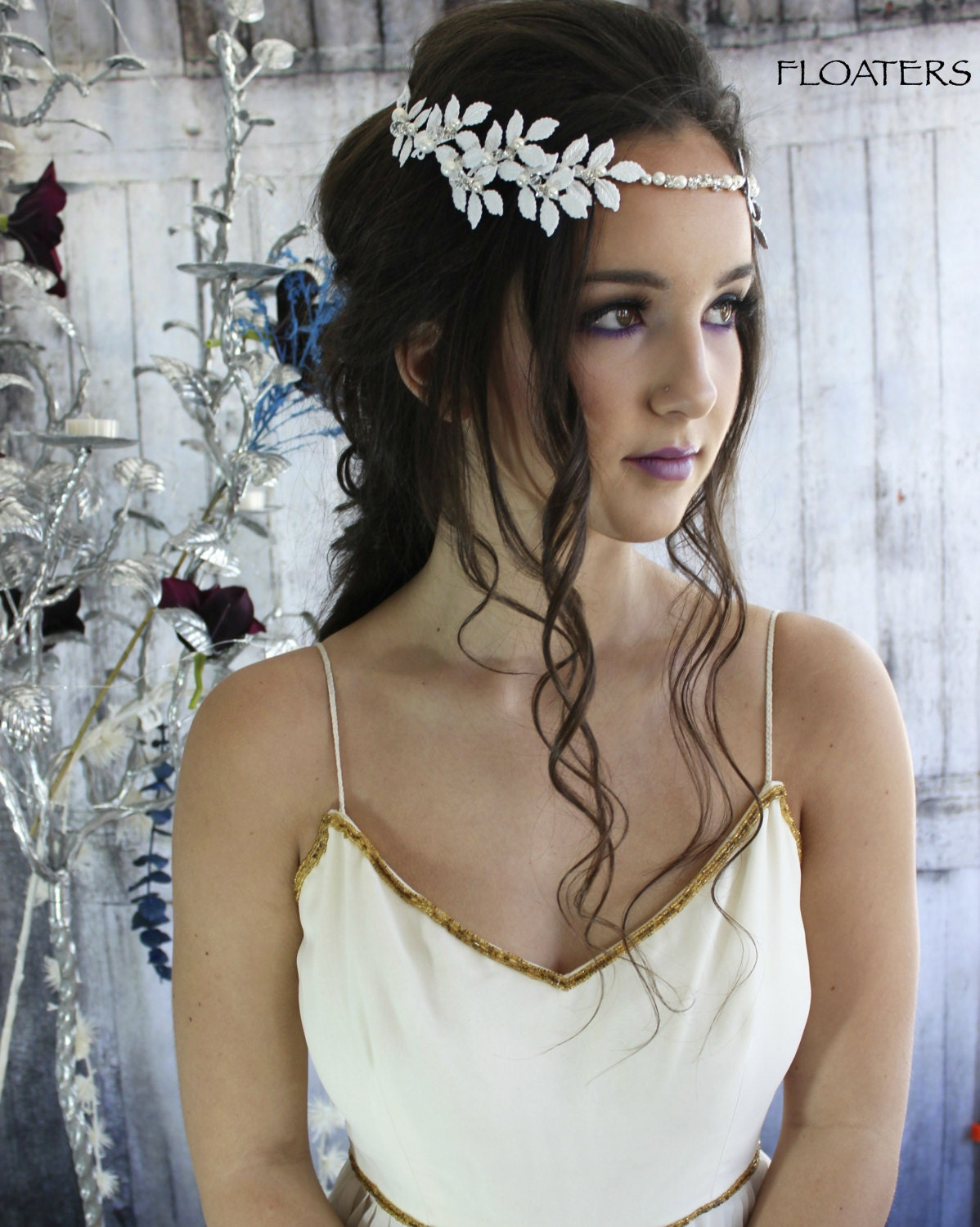 Bridal Hair Wreath In White Headband With Leaves Flower Hair Piece