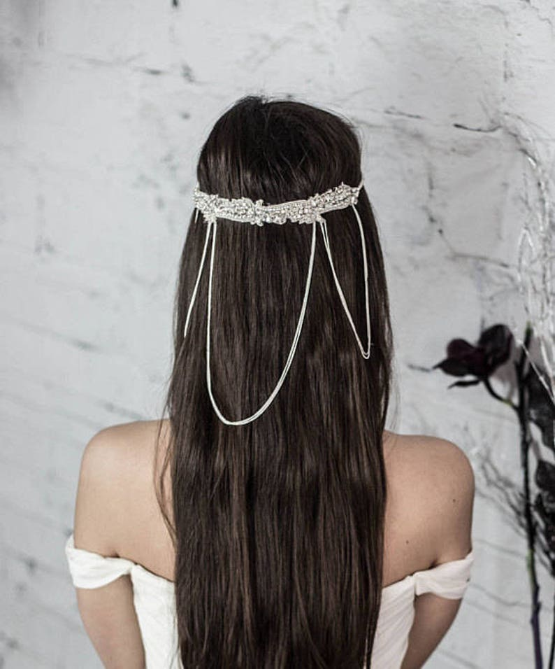 Gatsby Wedding Headpiece Art Deco Hair Accessories Bridal Hair Chain Jewelry Bridal Head Chain Art Deco Bridal Headband Forehead Jewelry
