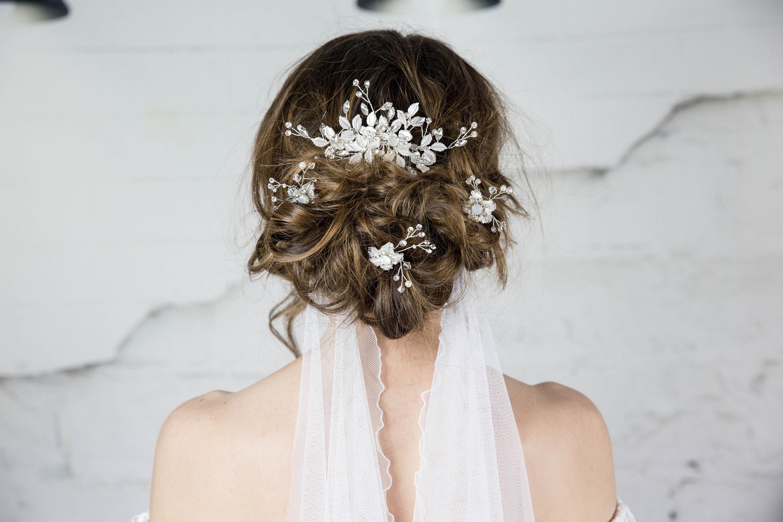 Floral Hair Comb Bridal Headpiece Wedding Hair Piece Silver