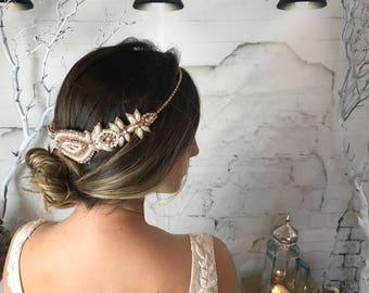 Rose Gold Halo Headband,  Art Deco Headpiece, Bridal Statement Headband with Pearls, Bridal Headpiece, Forehead Hair Piece, Head Band