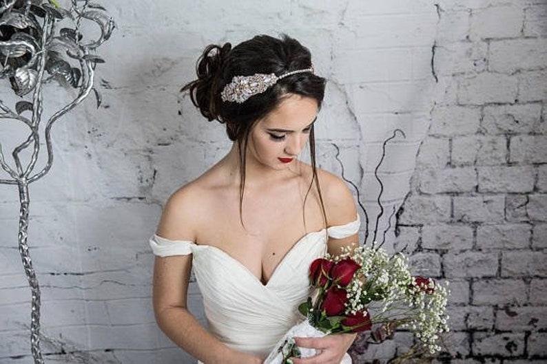 Gold Bridal Headpiece Bridal Head Chain Crystal Headband Gold Wedding Tiara Bohemian Bridal hair accessories