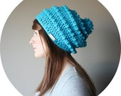 Bright Slouch Hat for Women with Big Pom Pom - BRIGHT BLUE // Made To Order