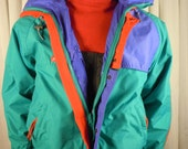 Vintage Men's Columbia Ski Rain Jacket Bright Colors with Hood - Red Green Purple Size Medium
