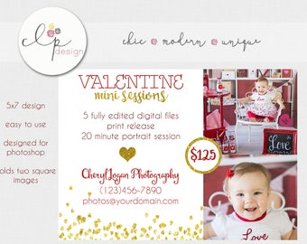 Photography Marketing Board Newsletter Templates PSD Valentine Mini Session Photoshop Template Sweet Heart