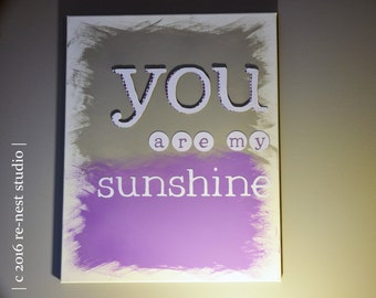 ready-to-ship: you are my sunshine canvas wall art - nursery decor/little girls bedroom/playroom decor/new baby/purple and grey nursery