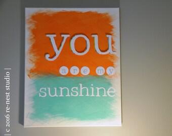 ready-to-ship! you are my sunshine canvas wall art - nursery art/beach theme nursery/teal and orange/baby room/little kids room
