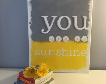 new: free shipping! you are my sunshine canvas wall art - yellow and grey canvas wall art/nursery art/baby room/yellow and grey nursery