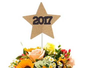 2017 Star Graduation Centerpiece Stick, 2017 Graduation Party Decoration, 2017 Graduation Table Decoration, 2017 Graduation Wand