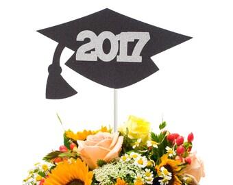 2017 Graduation Cap Centerpiece Stick, Class of 2017 Centerpiece Stick, 2017 Graduation Party Decor, Graduation Table Decor, Graduation Wand