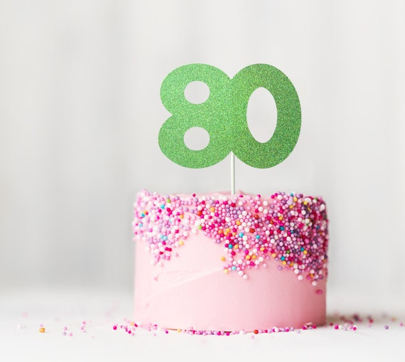 Age Large Glitter Number 80 Cake Topper Birthday Eighty Years Eightieth
