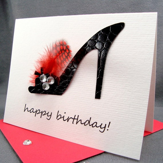 Sexy Black High Heel Shoe Birthday Card For Wife Girlfriend Her