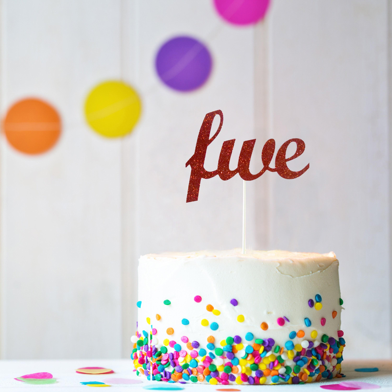 Wondrous Childrens Birthday Decoration Five Cake Topper 5 Cake Etsy Funny Birthday Cards Online Aboleapandamsfinfo
