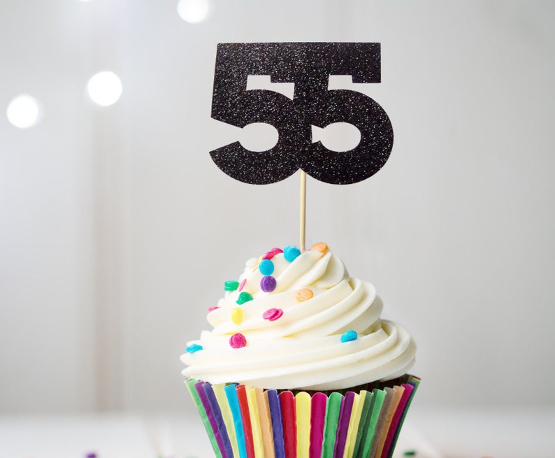 55 Cupcake Topper 55th Birthday