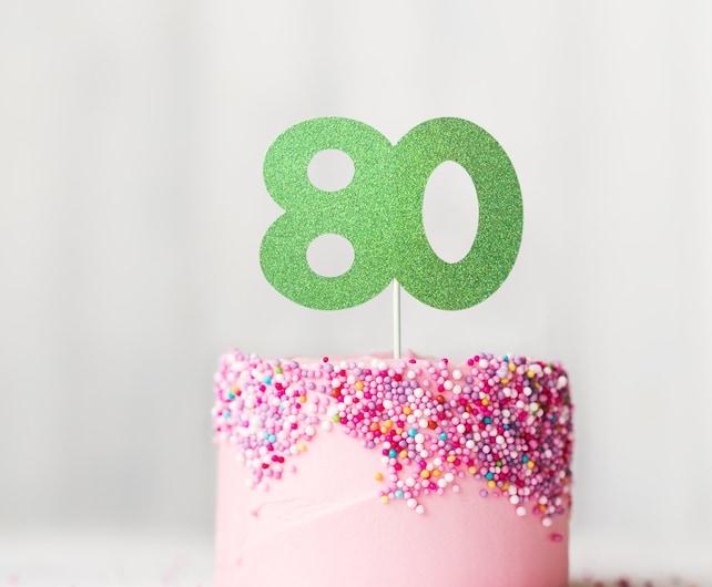 80 Cake Topper Glitter 80th Birthday Eightieth Party Dessert Table Decoration