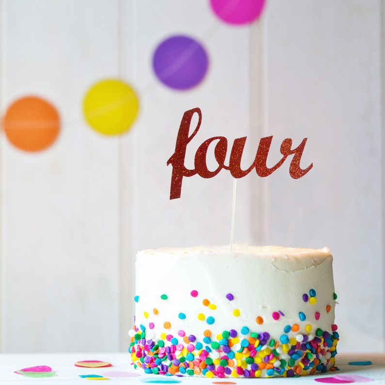 Four Cake Topper 4 4th Birthday Party Decoration