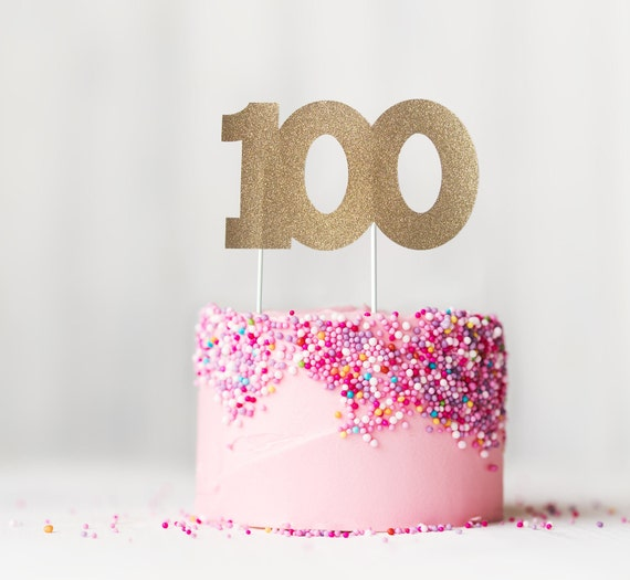 100 Cake Topper 100th Birthday Anniversary One Hundredth Party Decoration Centenarian Decor