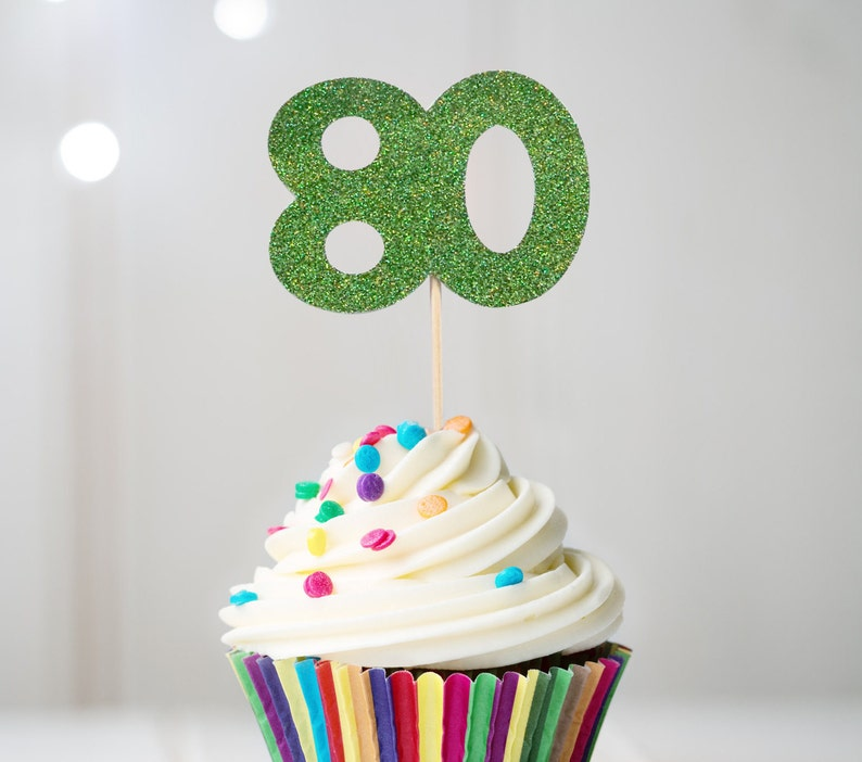 80 Cupcake Topper 80th Birthday Decorations
