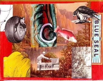 """Original Collage """"Blue Seal"""""""