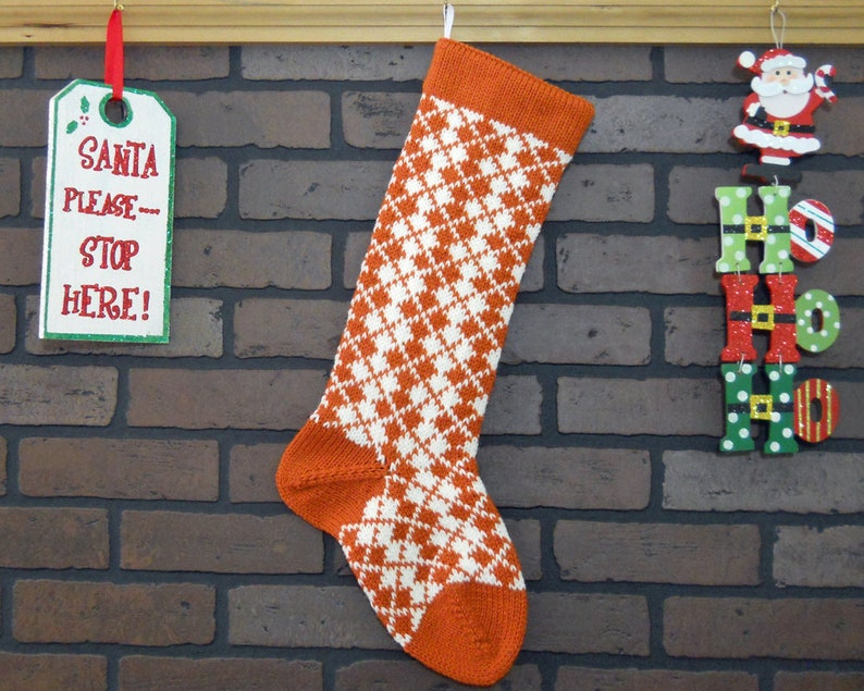 a7d39ea930f Argyle Christmas Stocking Hand Knit in Pumpkin Orange and