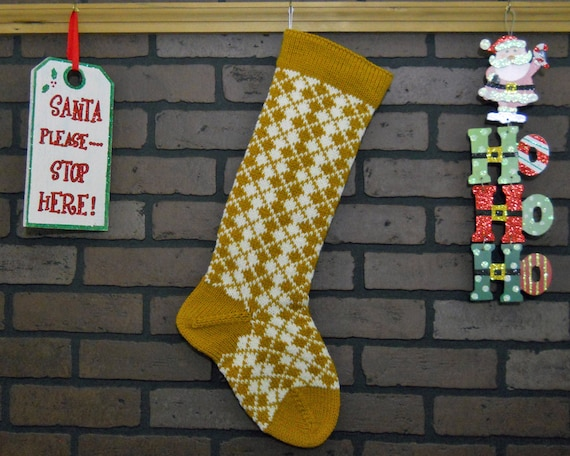 Pattern Only Hand Knitted ARGYLE Christmas Stocking