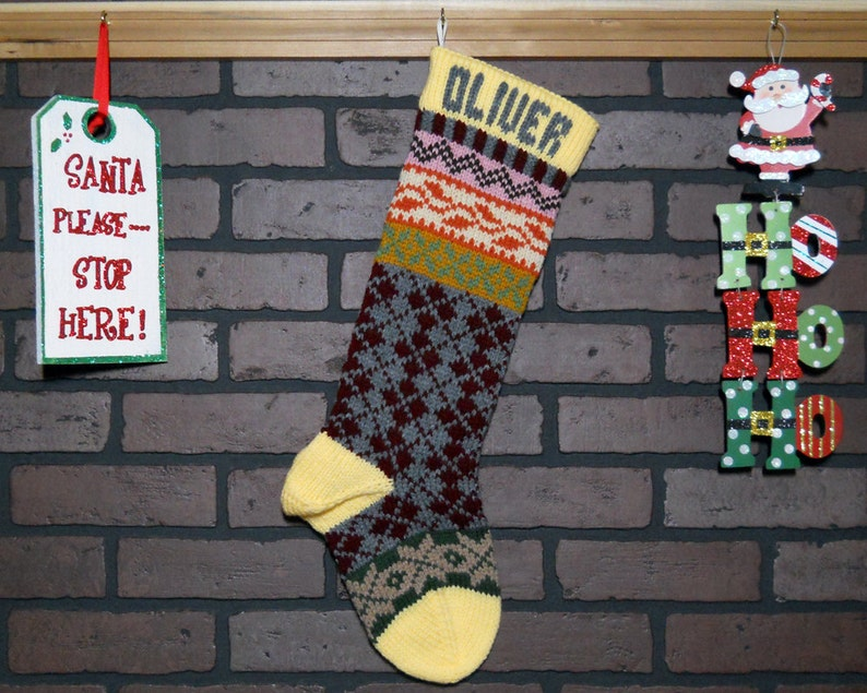 22db632b4e4 Argyle Christmas Stocking Hand Knit Fair Isle in Yellow with