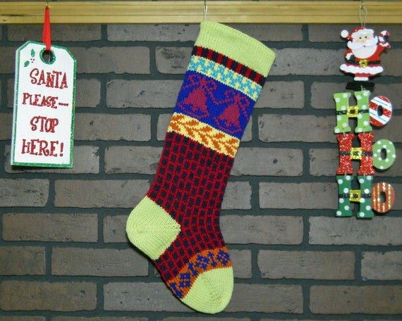 pale gray and white knit Christmas stocking
