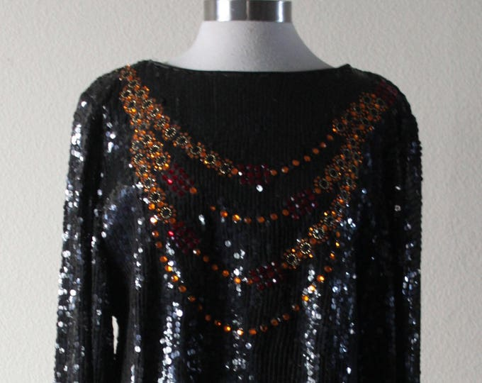 Vintage 1980s Stylish And Sexy Black Sequin Jacques Lelong Dress