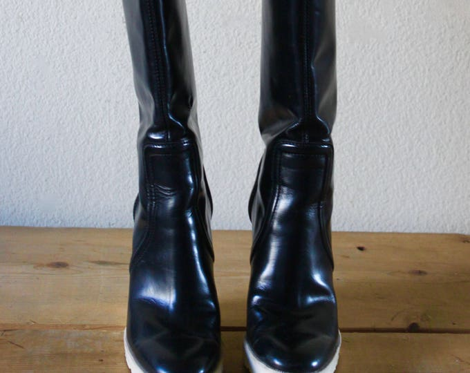 Vintage 1990s Gucci Patent Leather Knee High Wedge Boots Black & White