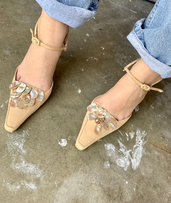 1990s Manolo Blanhik Heels Mules with Mother of P… - image 4