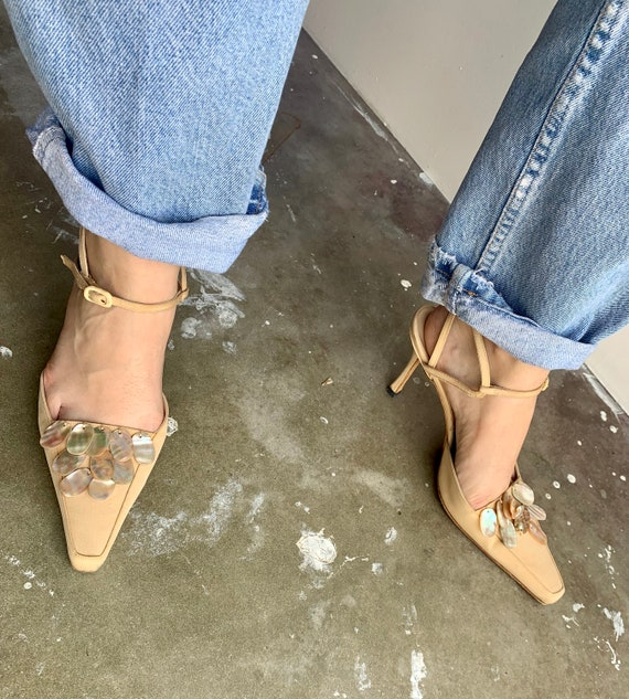1990s Manolo Blanhik Heels Mules with Mother of P… - image 1