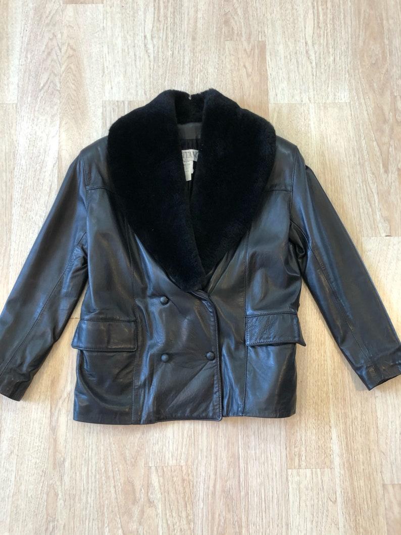 Vintage 80/'s Positano Fur Collar Leather Jacket
