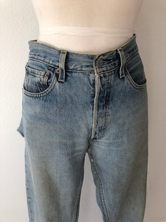 90's Vintage Distressed 501 Levi's Torn On The Ba… - image 4
