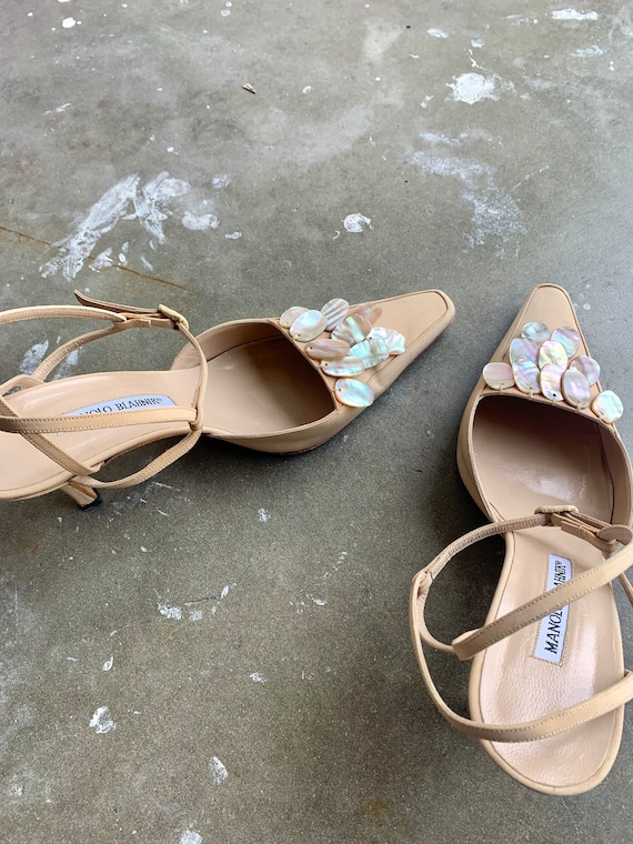1990s Manolo Blanhik Heels Mules with Mother of P… - image 6