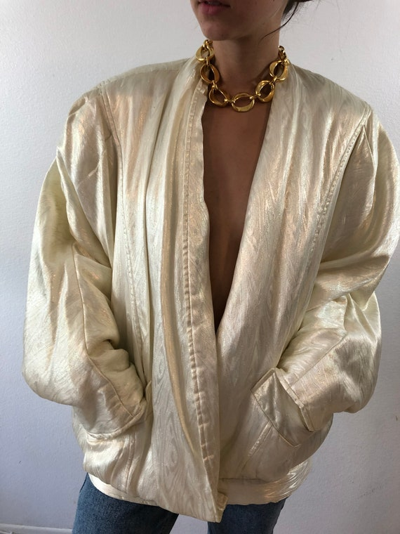 Vintage 90's Gold Oversized Puffy Blazer