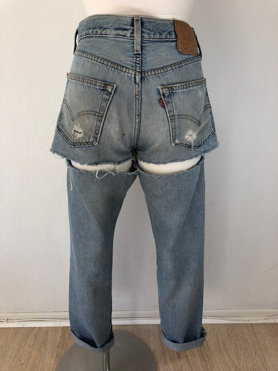 90's Vintage Distressed 501 Levi's Torn On The Ba… - image 5