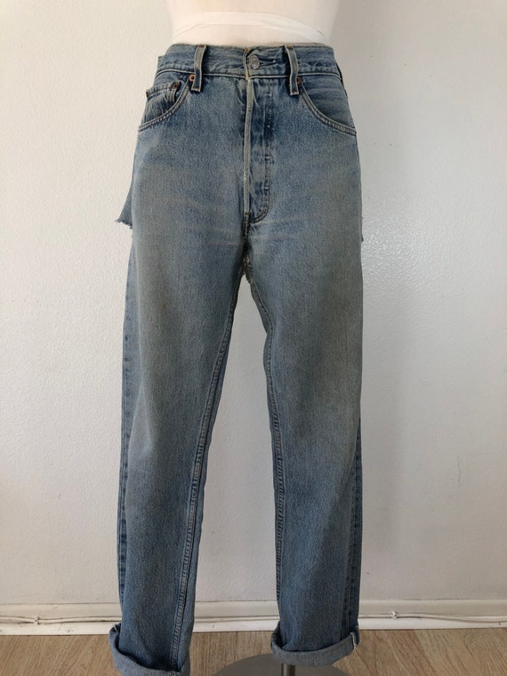 90's Vintage Distressed 501 Levi's Torn On The Ba… - image 2