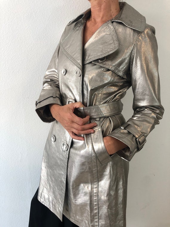 Vintage Silver Leather Trench Coat