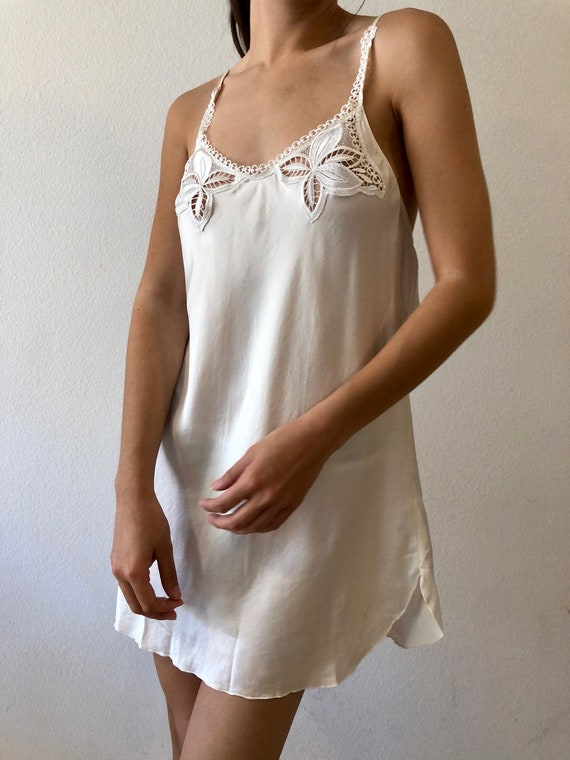 90's Silk Eyelet Slip Dress