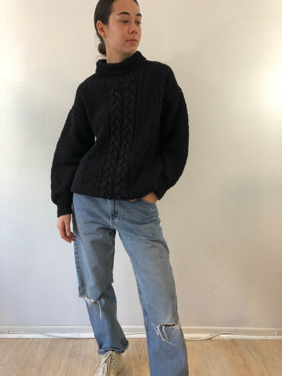 Vintage Nancy Heller Black Cable Knit Cotton Turtl