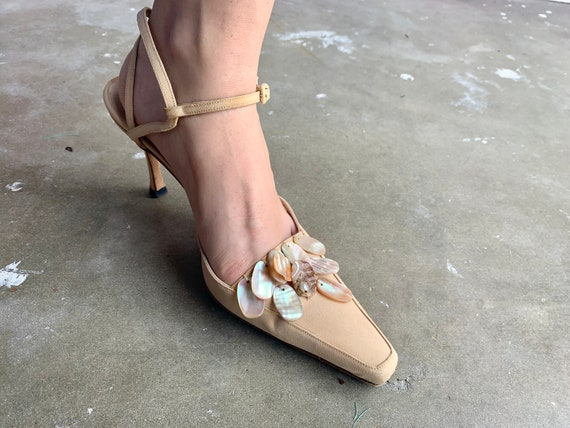 1990s Manolo Blanhik Heels Mules with Mother of P… - image 2