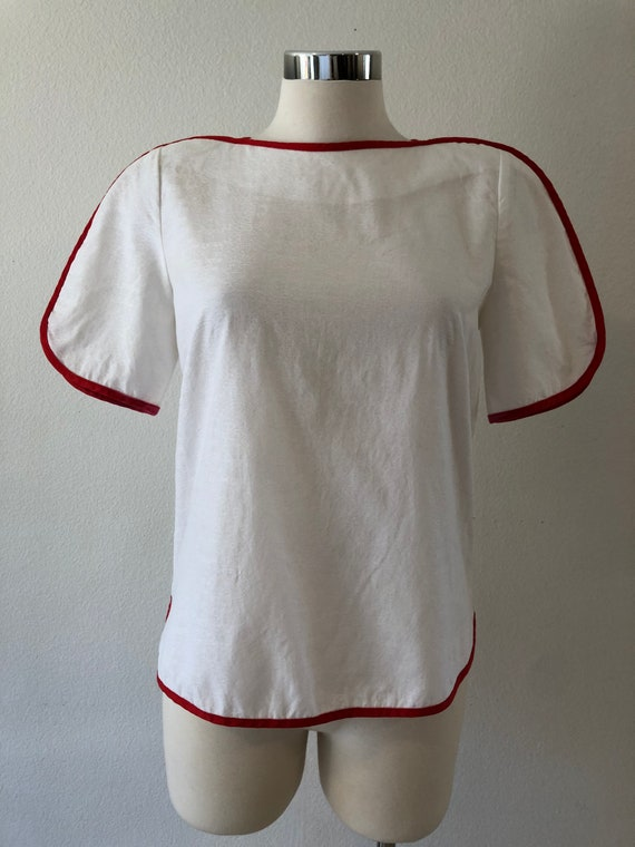 80's Jeanne Marc White Cotton With Red Hem Blouse