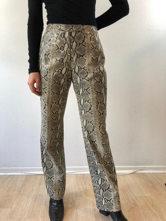 Vintage Python Printed Leather Pants