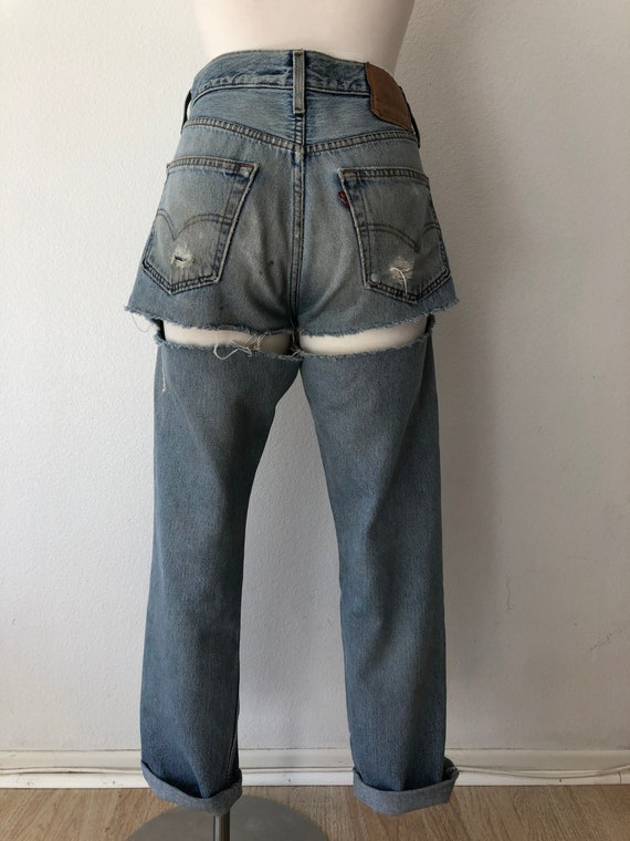 90's Vintage Distressed 501 Levi's Torn On The Ba… - image 1