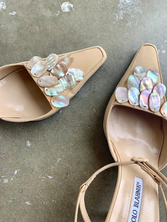1990s Manolo Blanhik Heels Mules with Mother of P… - image 7