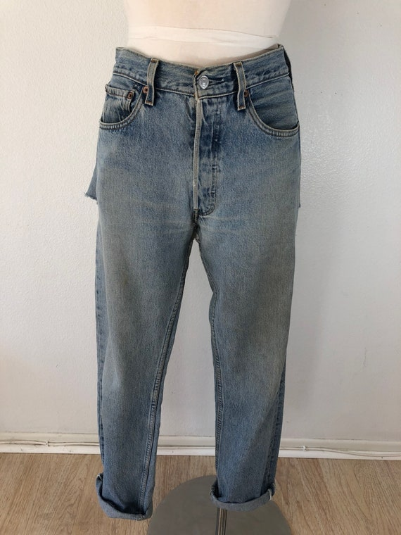 90's Vintage Distressed 501 Levi's Torn On The Ba… - image 3