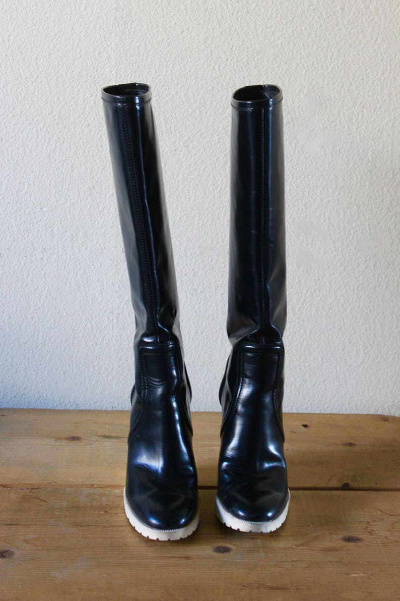 0def9758b65 Vintage 1990s Gucci Patent Leather Knee High Wedge Boots Black