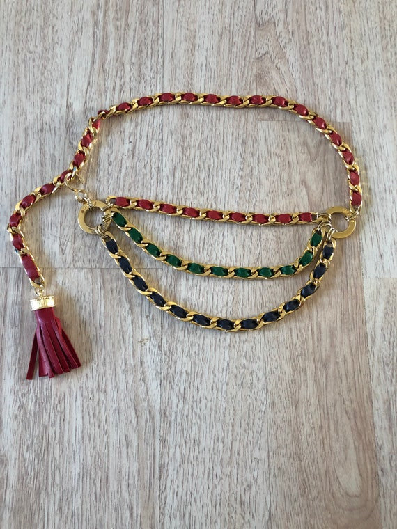 Vintage Adolf Gold Chain Leather Belt Tassel - image 8