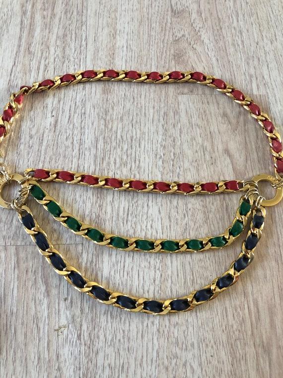 Vintage Adolf Gold Chain Leather Belt Tassel - image 9