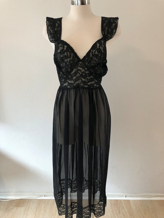 SALE: Vintage 40's Black Sheer Lace Night Gown Lin