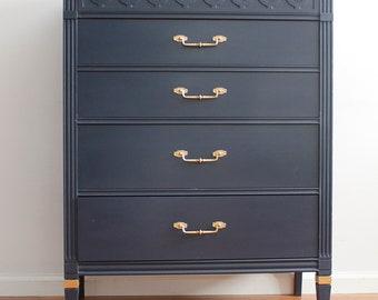 Mid-Century Blue Tall Dresser/Chest of Drawers/Bureau